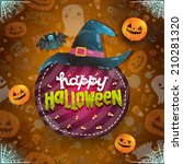 happy halloween card with witch ... | Shutterstock .eps vector #210281320