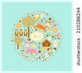vector funny card with deer ... | Shutterstock .eps vector #210288244