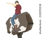 an image of a bull riding man. | Shutterstock .eps vector #210293218