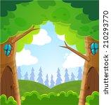 vector summer magic forest | Shutterstock .eps vector #210293770