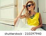 beautiful blonde young woman... | Shutterstock . vector #210297940