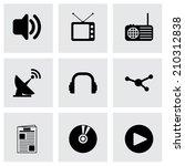 vector black media icons set on ... | Shutterstock .eps vector #210312838