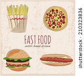 fast food hand drawn icons.... | Shutterstock .eps vector #210323836