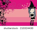 cute witch girl cartoon... | Shutterstock .eps vector #210324430