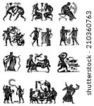 big collection of silhouettes... | Shutterstock .eps vector #210360763