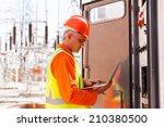 professional mature electrician ... | Shutterstock . vector #210380500