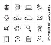 flat line icons for web icons... | Shutterstock .eps vector #210381553