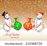 vintage christmas card with... | Shutterstock . vector #210388720
