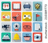 square vector flat icons with...
