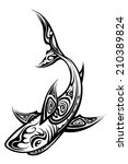 vector shark polynesian tattoo... | Shutterstock .eps vector #210389824
