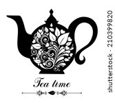 tea time. teapot with floral... | Shutterstock .eps vector #210399820