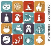 set of halloween icons.... | Shutterstock .eps vector #210405550
