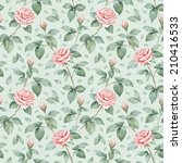 watercolor pattern with rose... | Shutterstock . vector #210416533
