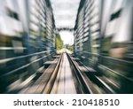 Railway Track On Bridge Blurre...