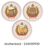 set of labels to beer on wooden ... | Shutterstock .eps vector #210430930