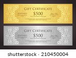 luxury golden and silver gift... | Shutterstock .eps vector #210450004