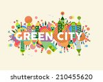 colorful green city.... | Shutterstock .eps vector #210455620