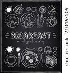 vintage poster. breakfast menu. ... | Shutterstock .eps vector #210467509