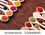 colorful spices in wooden... | Shutterstock . vector #210468640