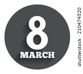 8 march women's day sign icon....