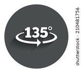 angle 135 degrees sign icon....
