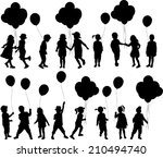 silhouettes of children with... | Shutterstock .eps vector #210494740