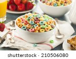 coloful fruit cereal loops in a ... | Shutterstock . vector #210506080