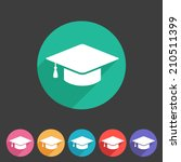 flat graduation cap icon | Shutterstock .eps vector #210511399