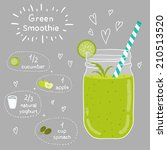 green smoothie recipe. with... | Shutterstock .eps vector #210513520