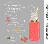 strawberry smoothie recipe....   Shutterstock .eps vector #210513550