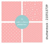 set of 4 cute seamless patterns.... | Shutterstock .eps vector #210513739