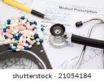 medical theme   doctors desk... | Shutterstock . vector #21054184