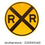 Railroad Crossing Sign Isolated ...