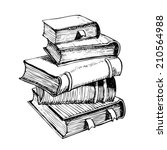 pen drawing a pile of books | Shutterstock .eps vector #210564988