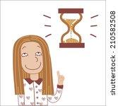 girl and hourglass   Shutterstock . vector #210582508