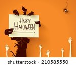 zombie hand holding a blank... | Shutterstock .eps vector #210585550