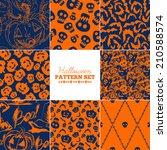 set of eight trendy seamless...   Shutterstock .eps vector #210588574