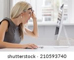 this is too much  young woman... | Shutterstock . vector #210593740
