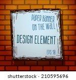 vintage frame on brick texture... | Shutterstock .eps vector #210595696