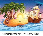 illustration of treasure island ... | Shutterstock . vector #210597880