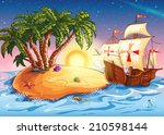 illustration of the island with ... | Shutterstock . vector #210598144