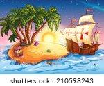 illustration of treasure island ... | Shutterstock . vector #210598243