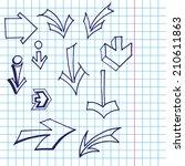 set of  vector arrows.hand...   Shutterstock .eps vector #210611863