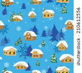 vector background with village... | Shutterstock .eps vector #210612556