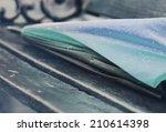 close up raindrops on umbrella...   Shutterstock . vector #210614398