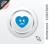 sad heart face with tear sign...
