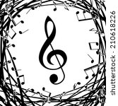 grunge music notes  background | Shutterstock .eps vector #210618226