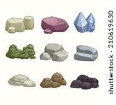 Set Of Cartoon Vector Stones...