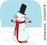 snowman in scarf   Shutterstock . vector #210620578