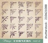 vector set of vintage corners | Shutterstock .eps vector #210621088